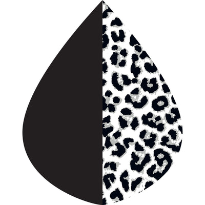 A raindrop shape depicting the Black and White Animal print as found on a Black & White Animal print RainCaper