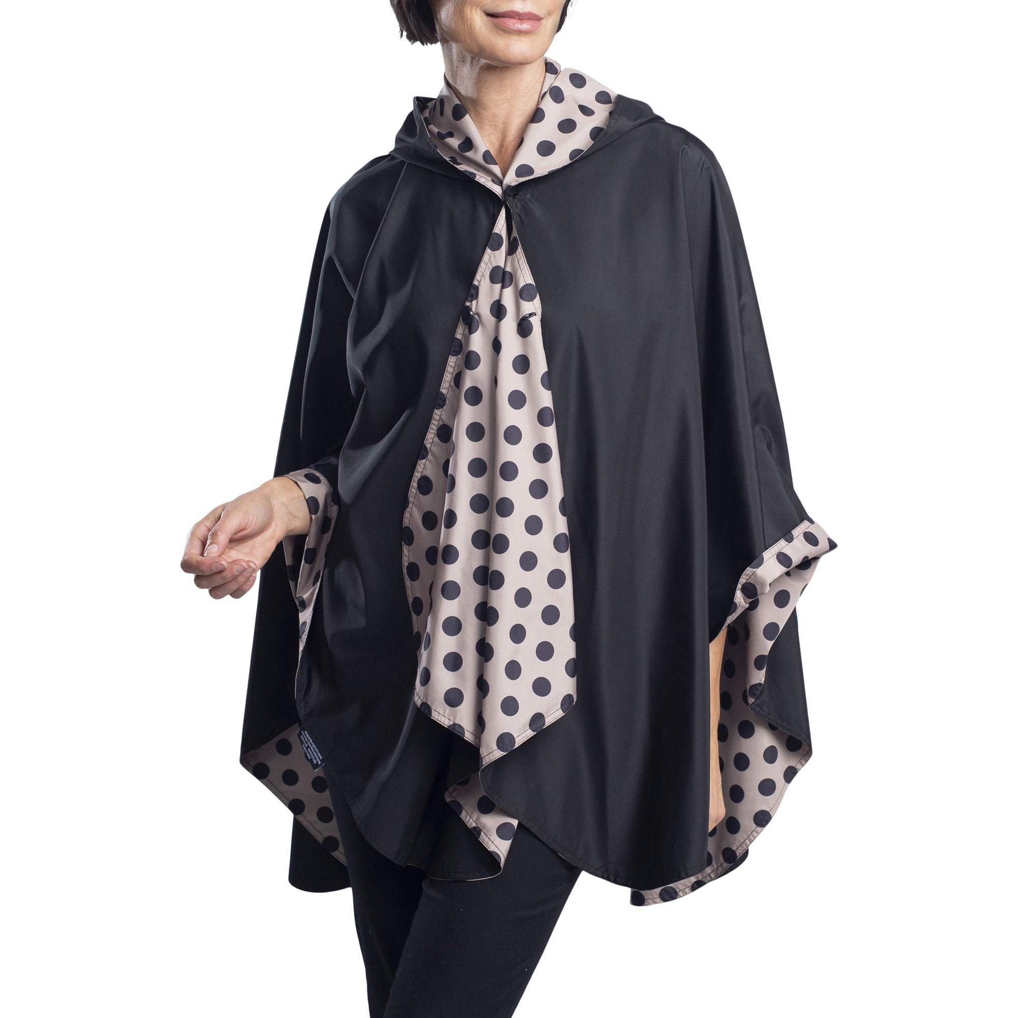 RainCaper Black/Camel Dots Reversible Travel Cape - New!