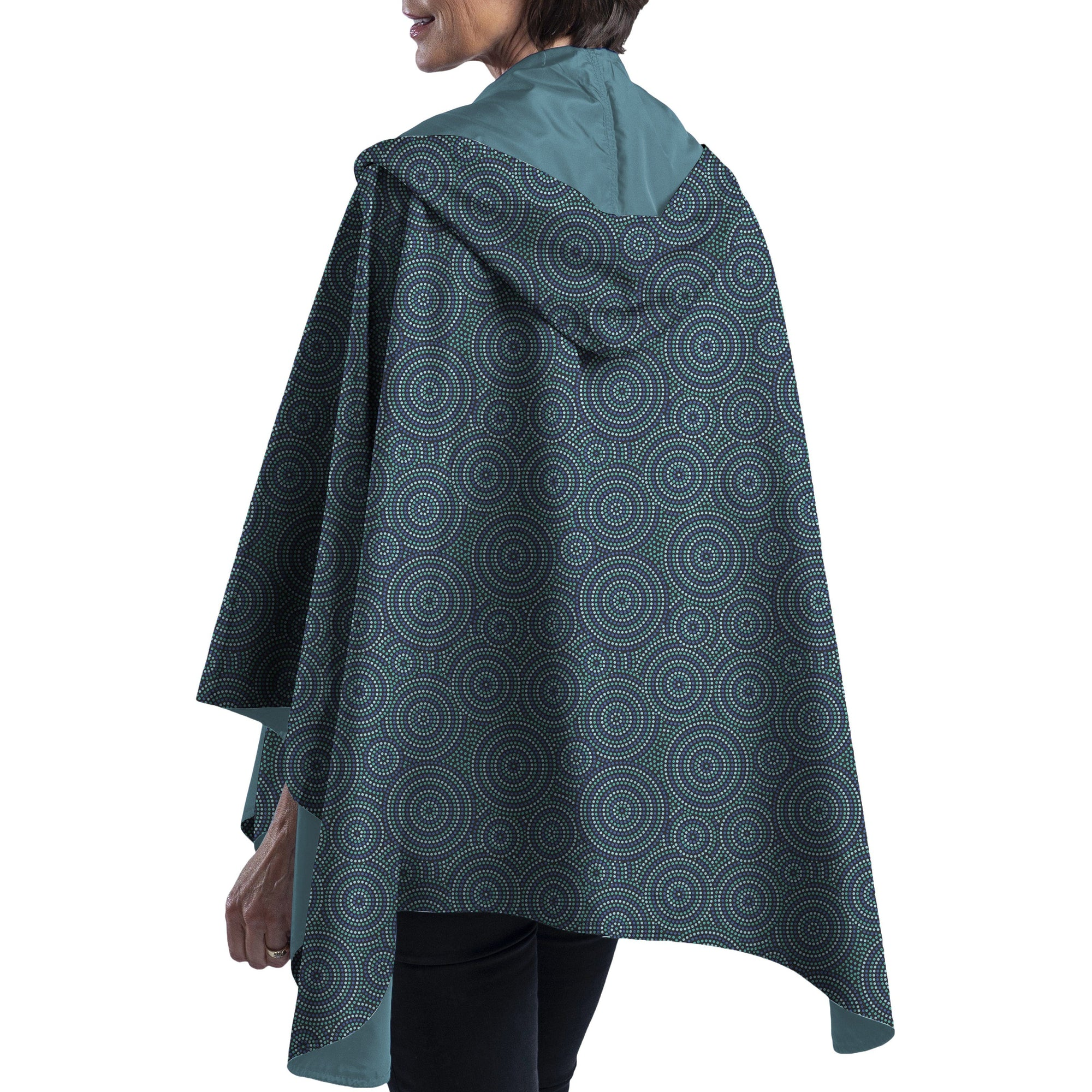 RainCaper Soft Teal & Circle Dots Travel Cape