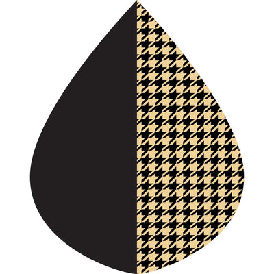 A raindrop shape depicting the Black & Camel Houndstooth print as found on a Black & Camel Houndstooth  RainCaper.