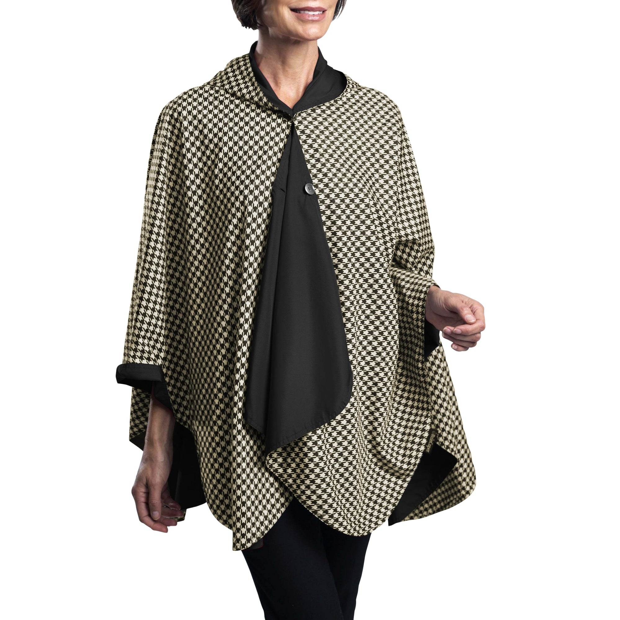 RainCaper Black & Camel Houndstooth Travel Cape