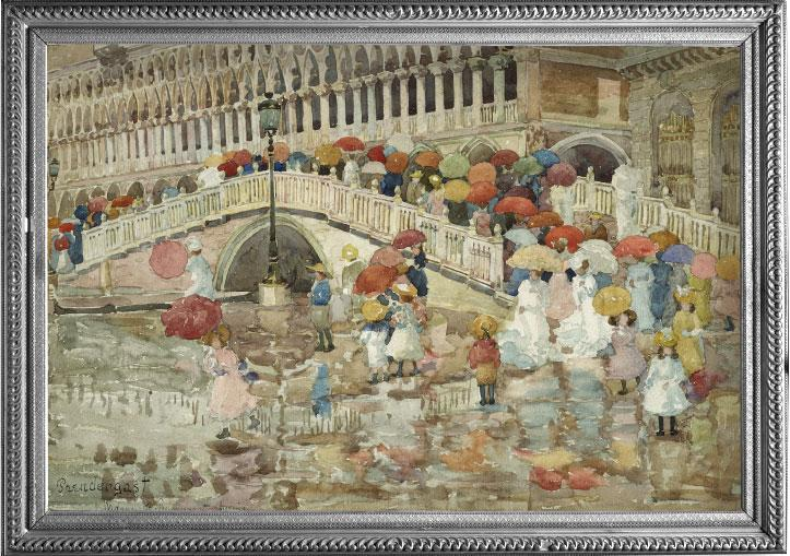 "Fine Art RainCaper - Prendergast ""Umbrellas in the Rain"" Travel Cape"