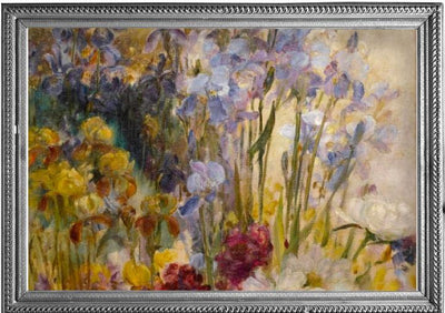 Framed image of Tiffany Peonies & Iris oil painting which inspired the Tiffany Peonies & Iris RainCaper.