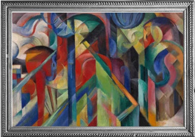 Framed image of Marc's Stables oil painting which inspired the Franz Marc Stables RainCaper.
