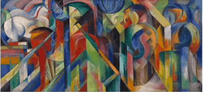 Image of Marc's Stables oil painting which inspired the Franz Marc Stables WarmCaper.