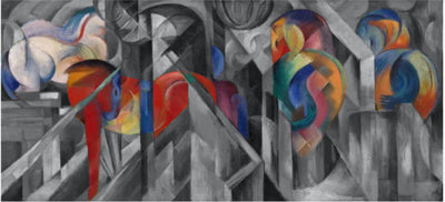 Image of Marc's Stables oil painting which inspired the Franz Marc Stables RainCaper.
