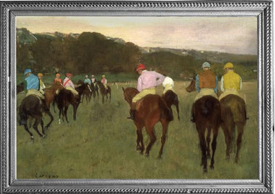 Framed image of Edgar Degas oil painting which inspired the Degas Racehorses at Longchamp WarmCaper.