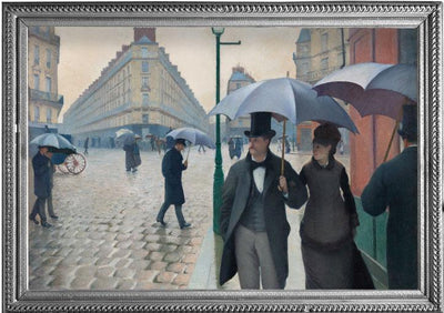 Framed image of Caillebotte's Paris Street; Rainy Day oil painting which inspired the Caillebotte Paris Street; Rainy Day RainCaper.