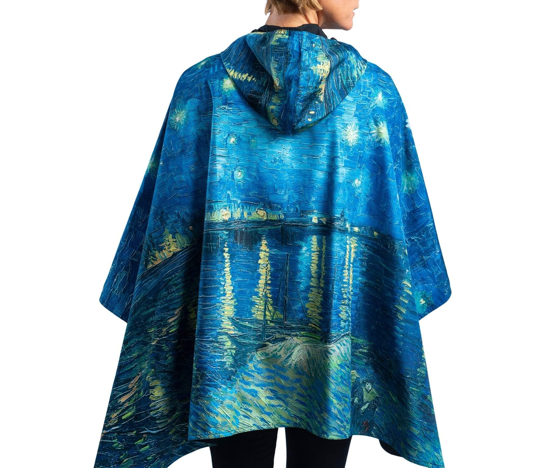 Fine Art RainCaper - van Gogh Over the Rhone Travel Cape & Womens Raincoat
