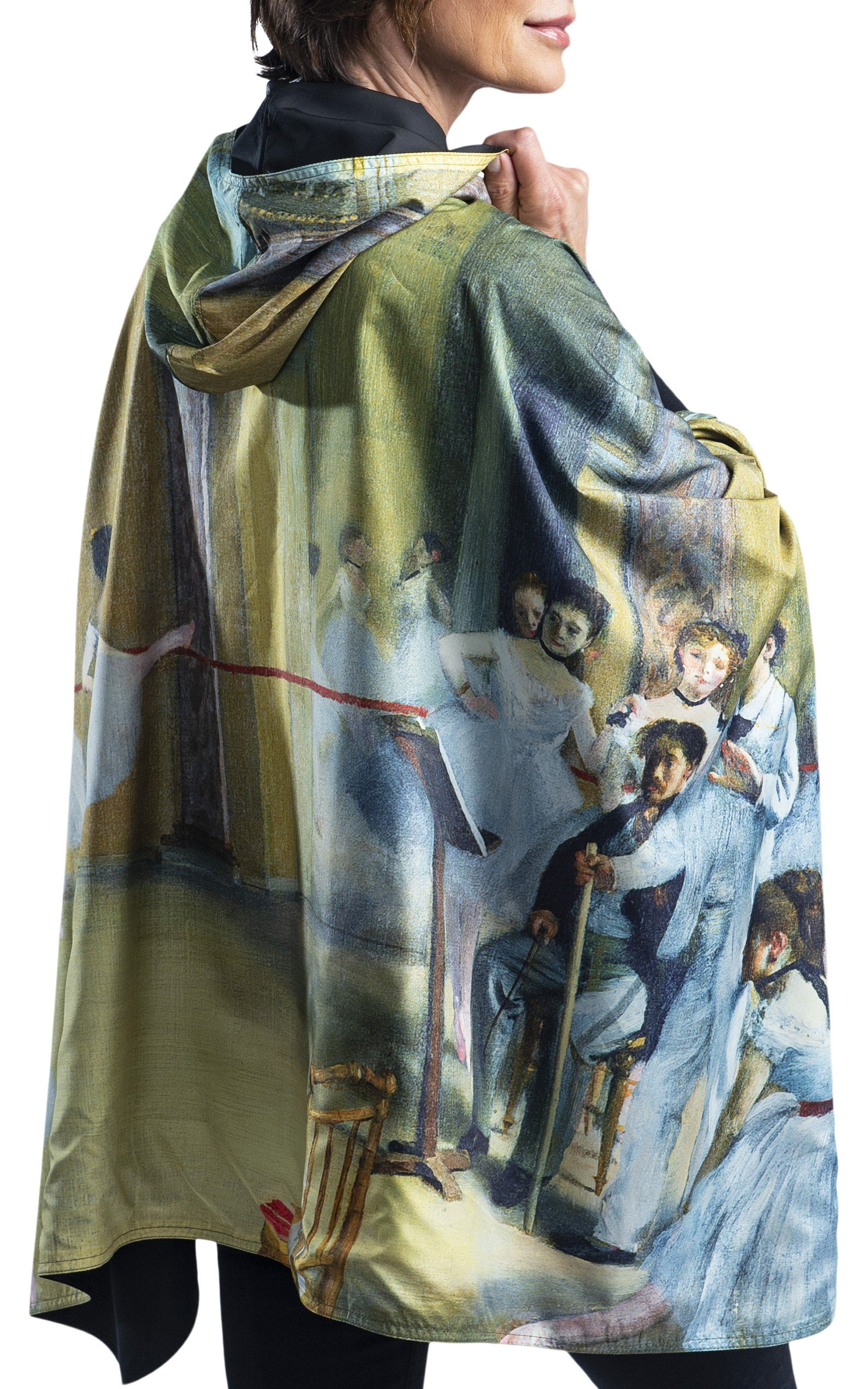 Woman wearing a RainCaper  Degas The Dance Foyer travel cape.