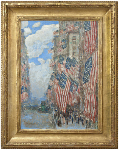 Framed image of Childe Hassam's The Fourth of July oil painting which inspired the Hassam Fourth of July RainCaper.