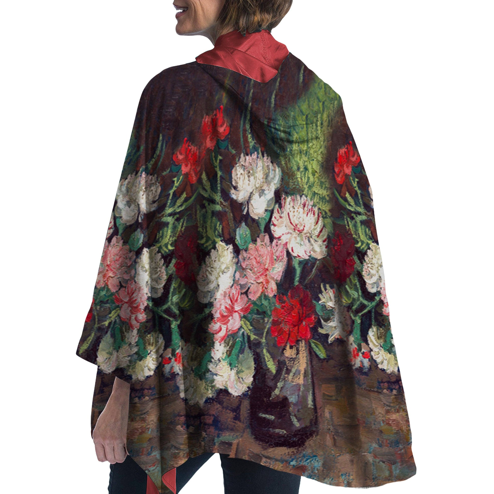 Fine Art RainCaper van Gogh Still Life with Carnations Travel Cape