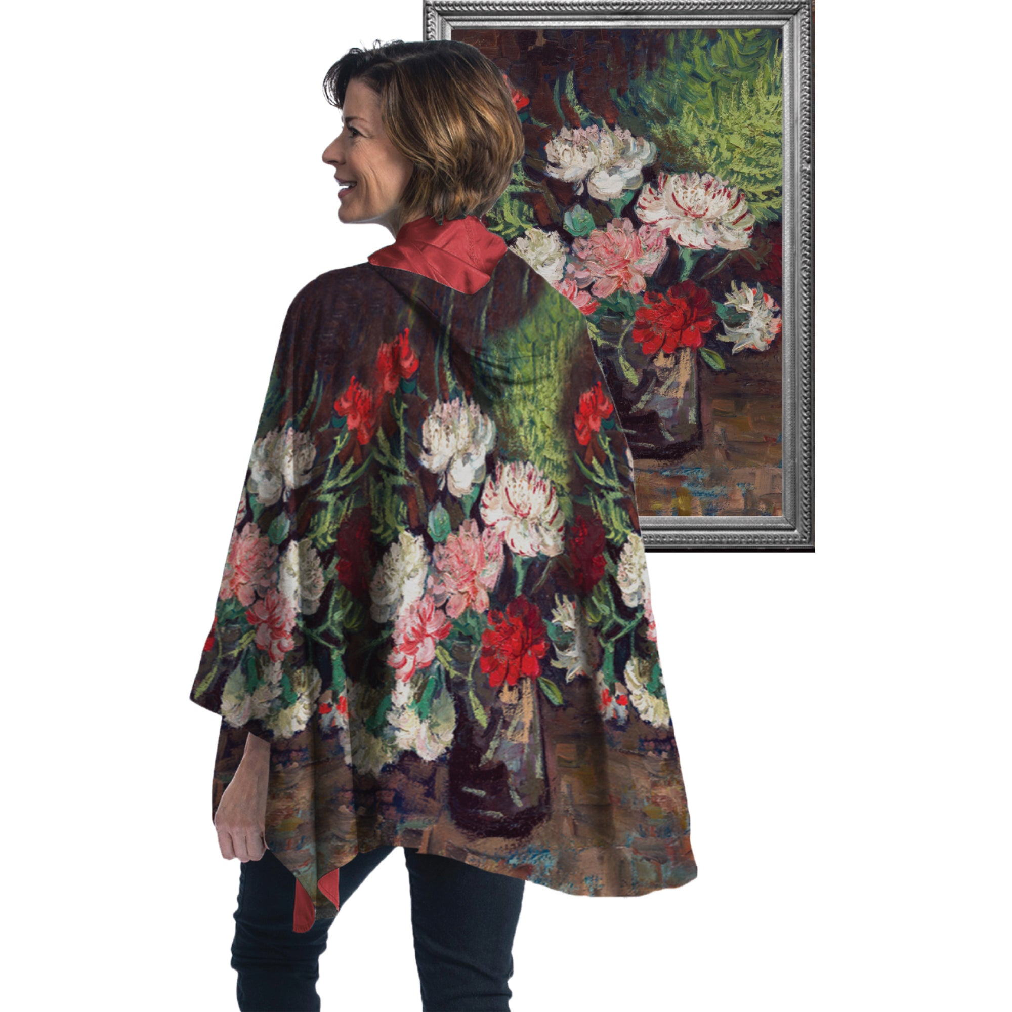 Woman wearing a RainCaper  van Gogh Still Life with Carnations Travel Cape.