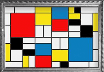 Framed image of Mondrian Composition II with Red, Blue and Yellow oil and paper on canvas painting which inspired the Mondrian Composition II with Red, Blue and Yellow RainCaper.