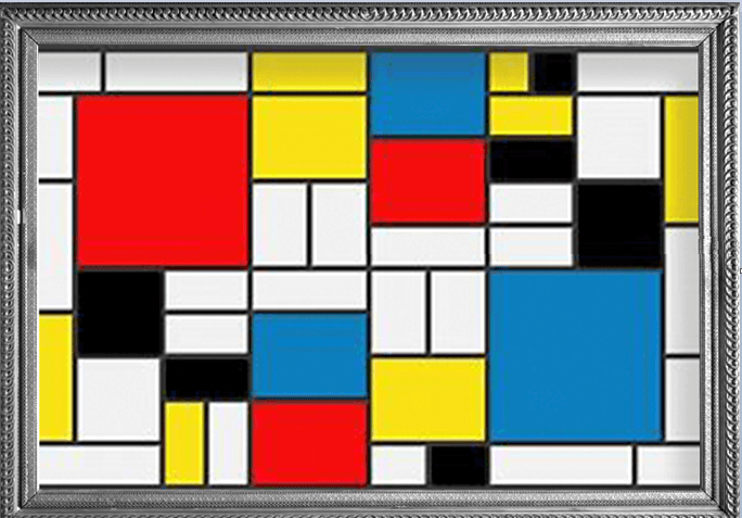 Woman wearing a RainCaper Mondrian Composition II with Red, Blue and Yellow Travel Cape.
