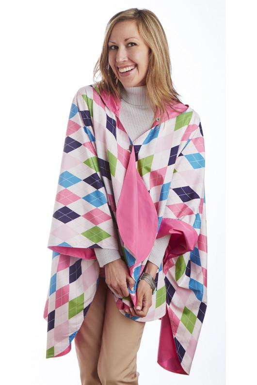 Rose & Argyle $39.99! - hooded waterproof reversible rain cape poncho
