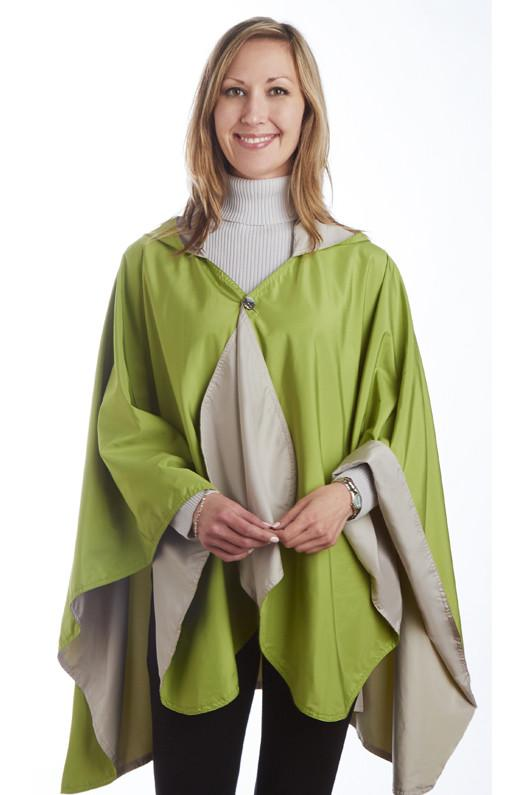 RainCaper Reversible Rain Poncho - Sand/Greenery - hooded waterproof reversible rain cape poncho