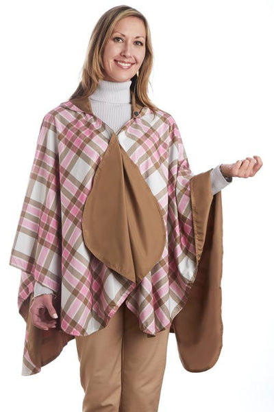 Toast & Pink Plaid $39.99! - hooded waterproof reversible rain cape poncho
