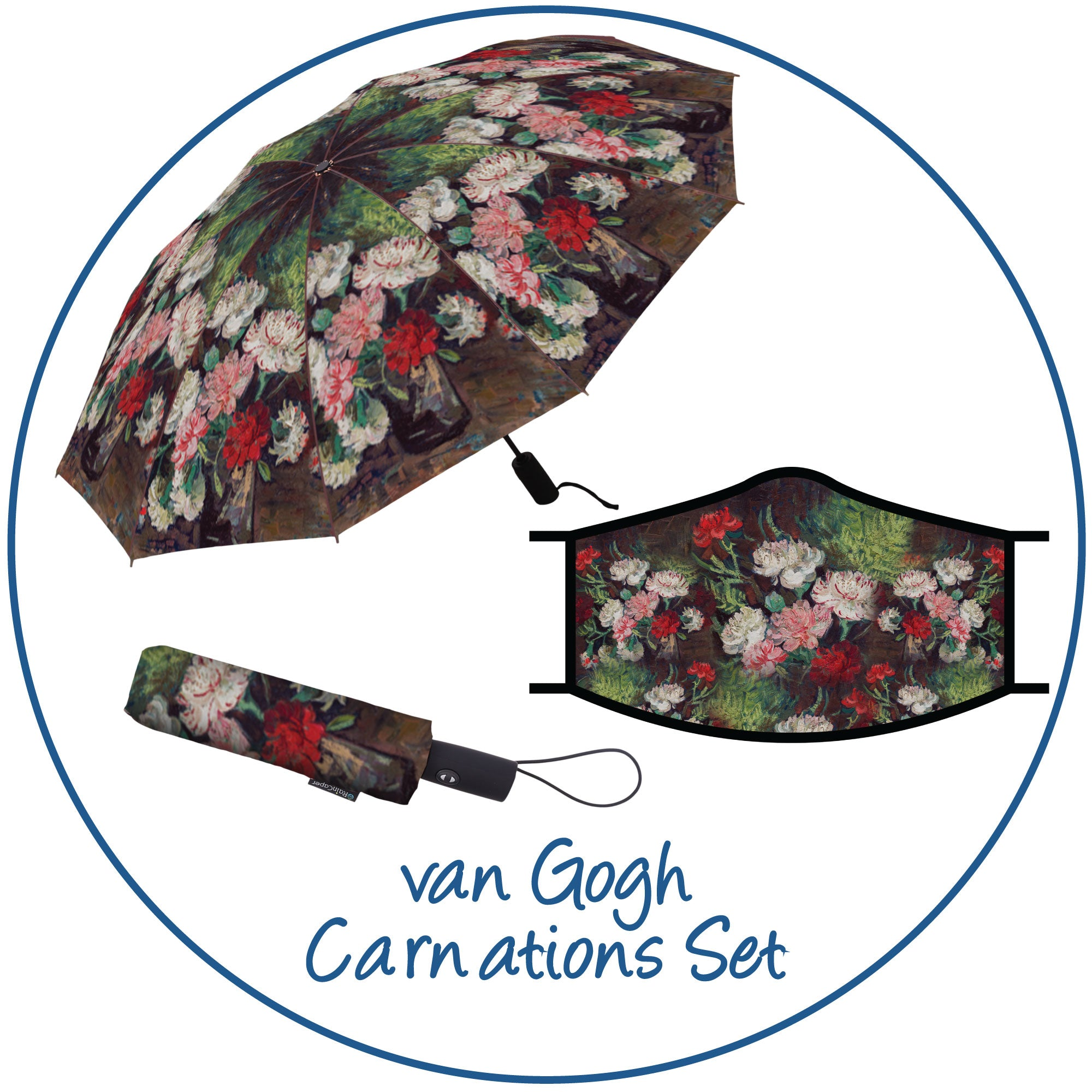 van Gogh Still Life with Carnations print folding travel umbrella with sleeve, paired with a matching van Gogh Still Life with Carnations  print reusable cloth face mask