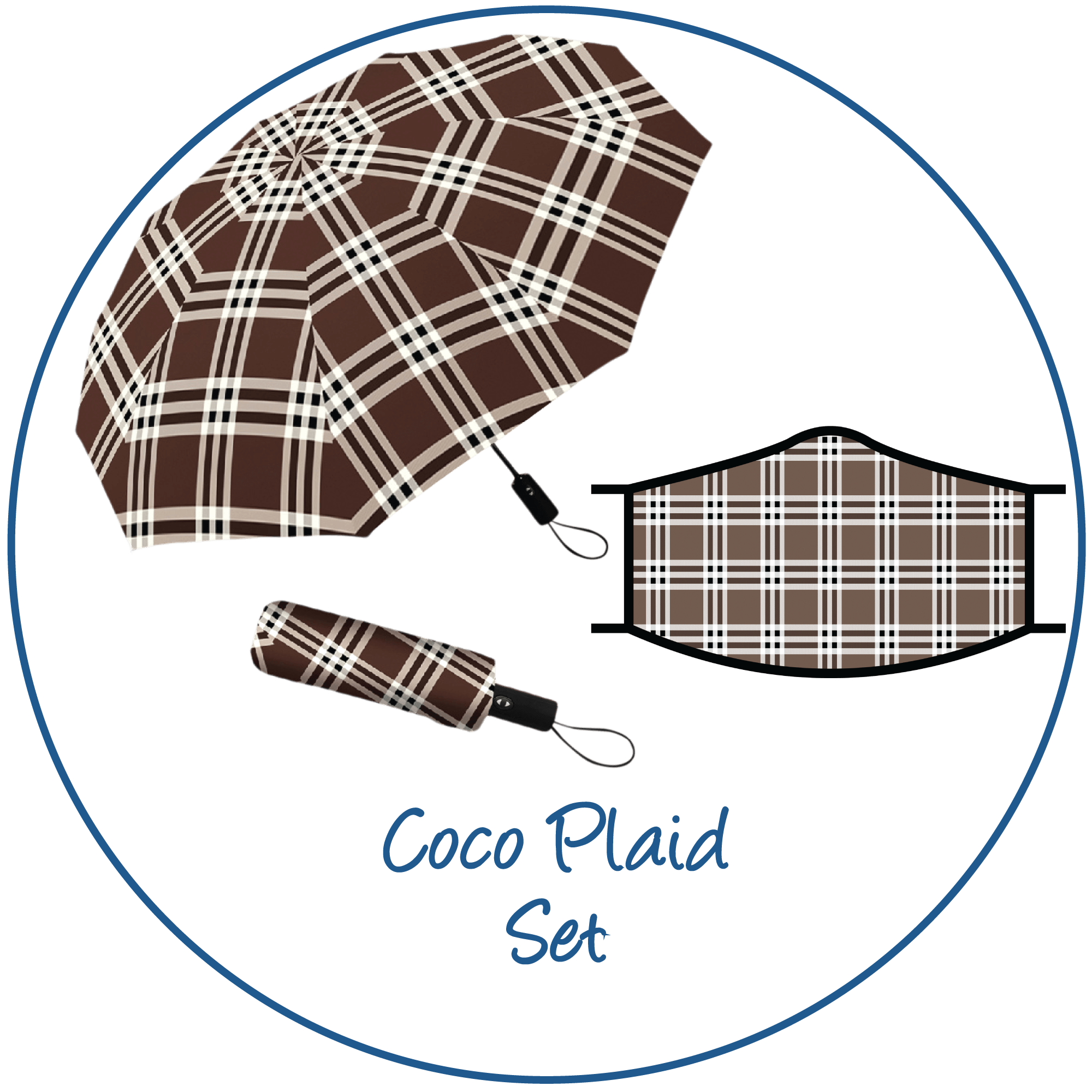 Coco Plaid print folding travel umbrella with sleeve,  paired with a matching Coco Plaid print reusable cloth face mask