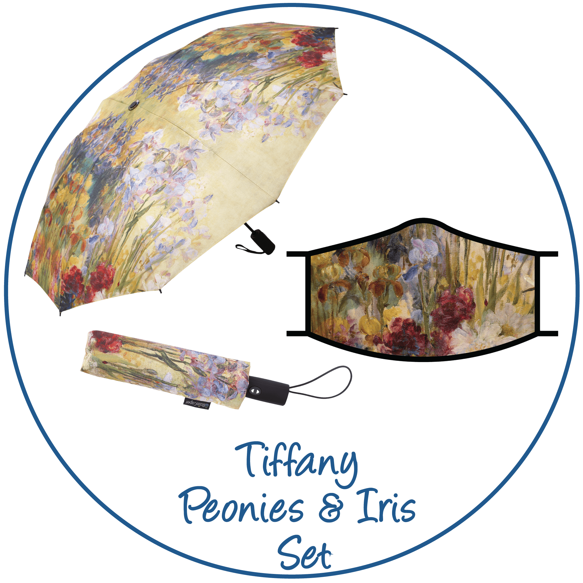 Tiffany Peonies & Iris print folding travel umbrella with sleeve,  paired with a matching Tiffany Peonies & Iris print reusable cloth face mask