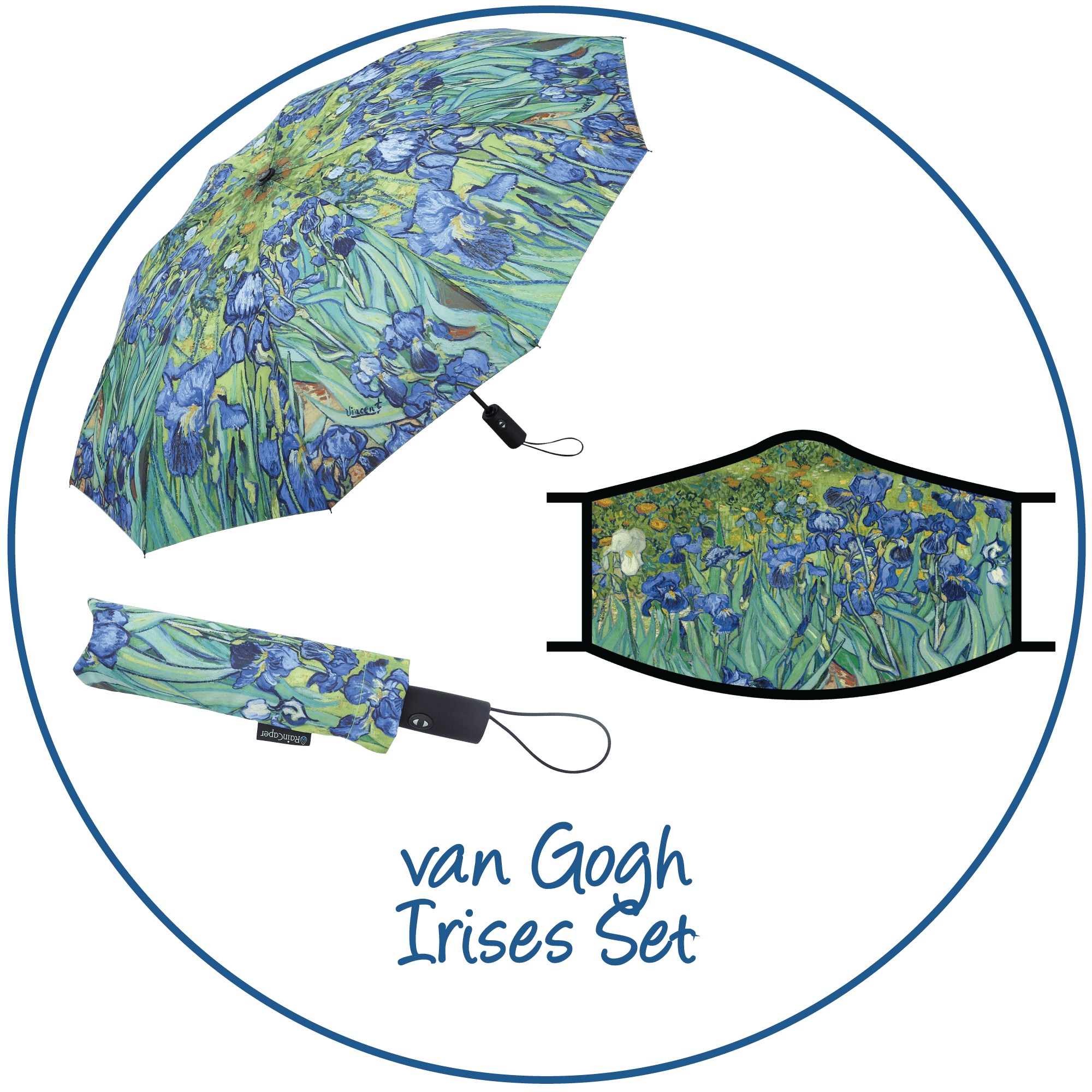 van Gogh Irises print folding travel umbrella with sleeve,  paired with a matching van Gogh Irises print reusable cloth face mask