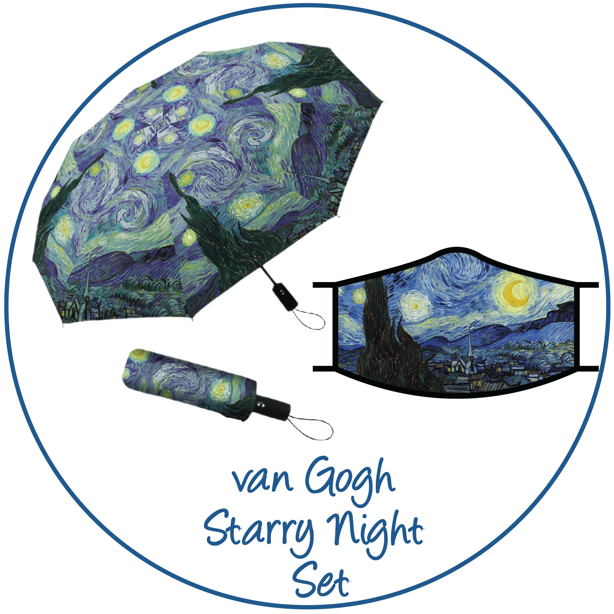 van Gogh Starry Night print folding travel umbrella with sleeve,  paired with a matching van Gogh Starry Night print reusable cloth face mask