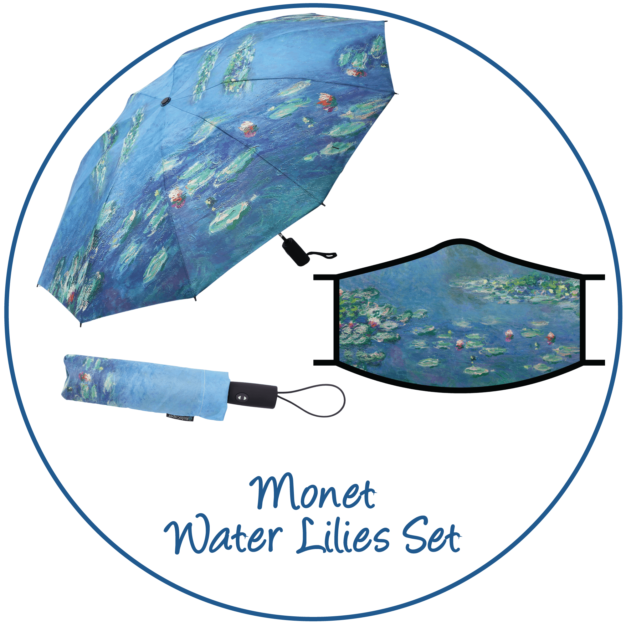 Monet Water Lilies print folding travel umbrella with sleeve,  paired with a matching Monet Water Lilies print reusable cloth face mask