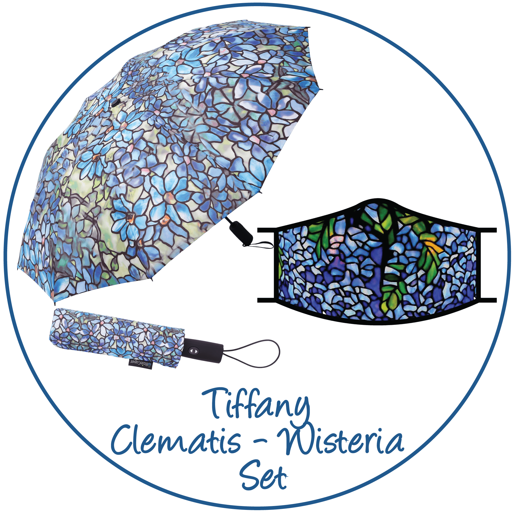 Tiffany Clematis print folding travel umbrella with sleeve,  paired with a matching Tiffany Clematis print reusable cloth face mask