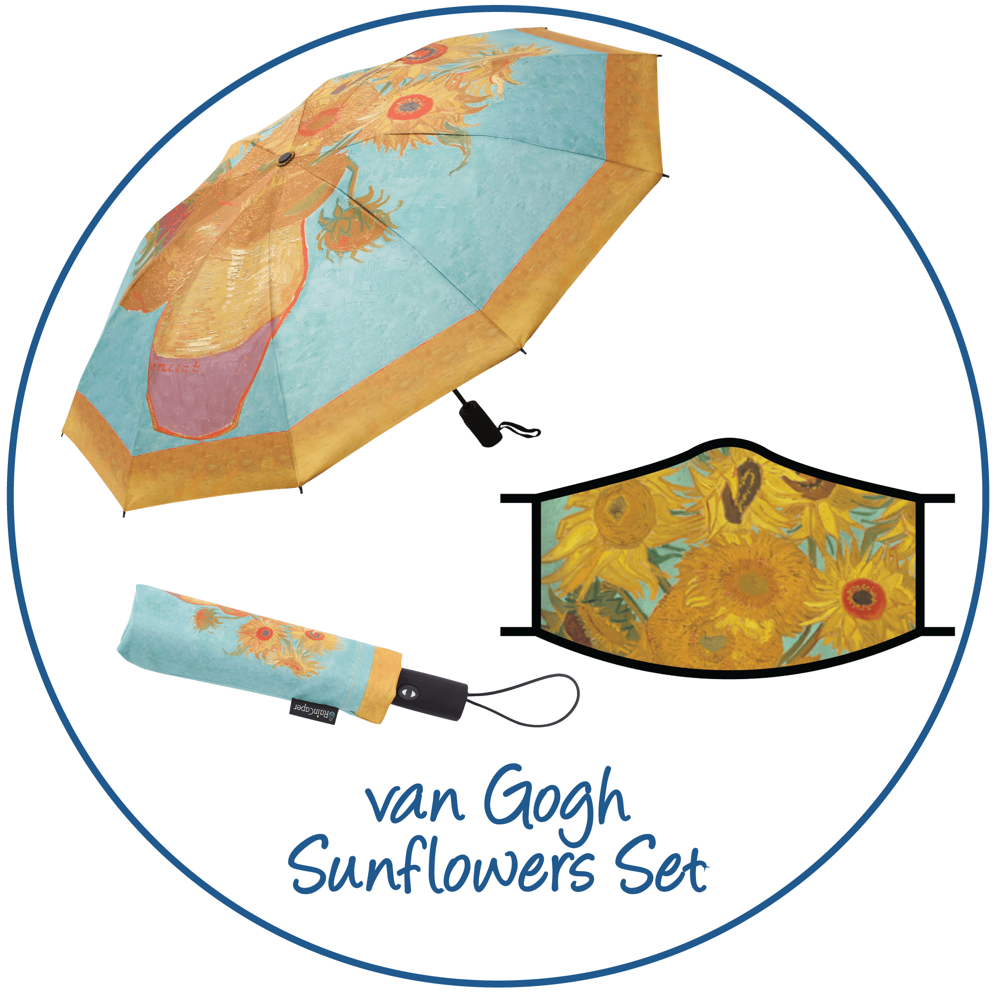 van Gogh Sunflowers print folding travel umbrella with sleeve,  paired with a matching van Gogh Sunflowers print reusable cloth face mask