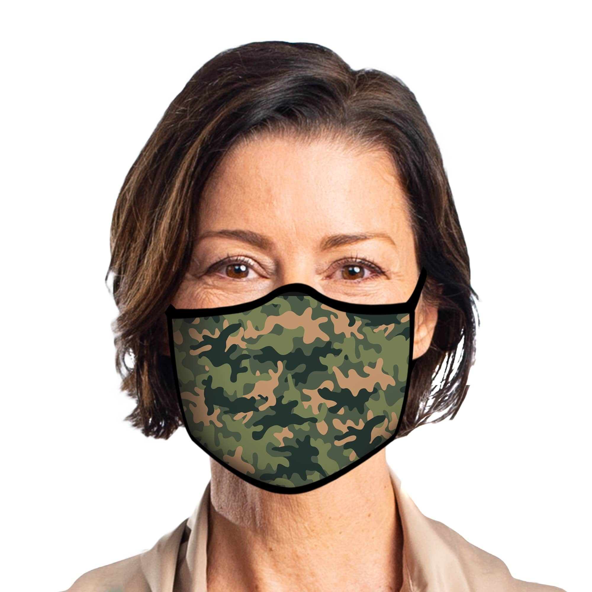 Man wearing a RainCaper Camo Reusable Fabric Face Mask.