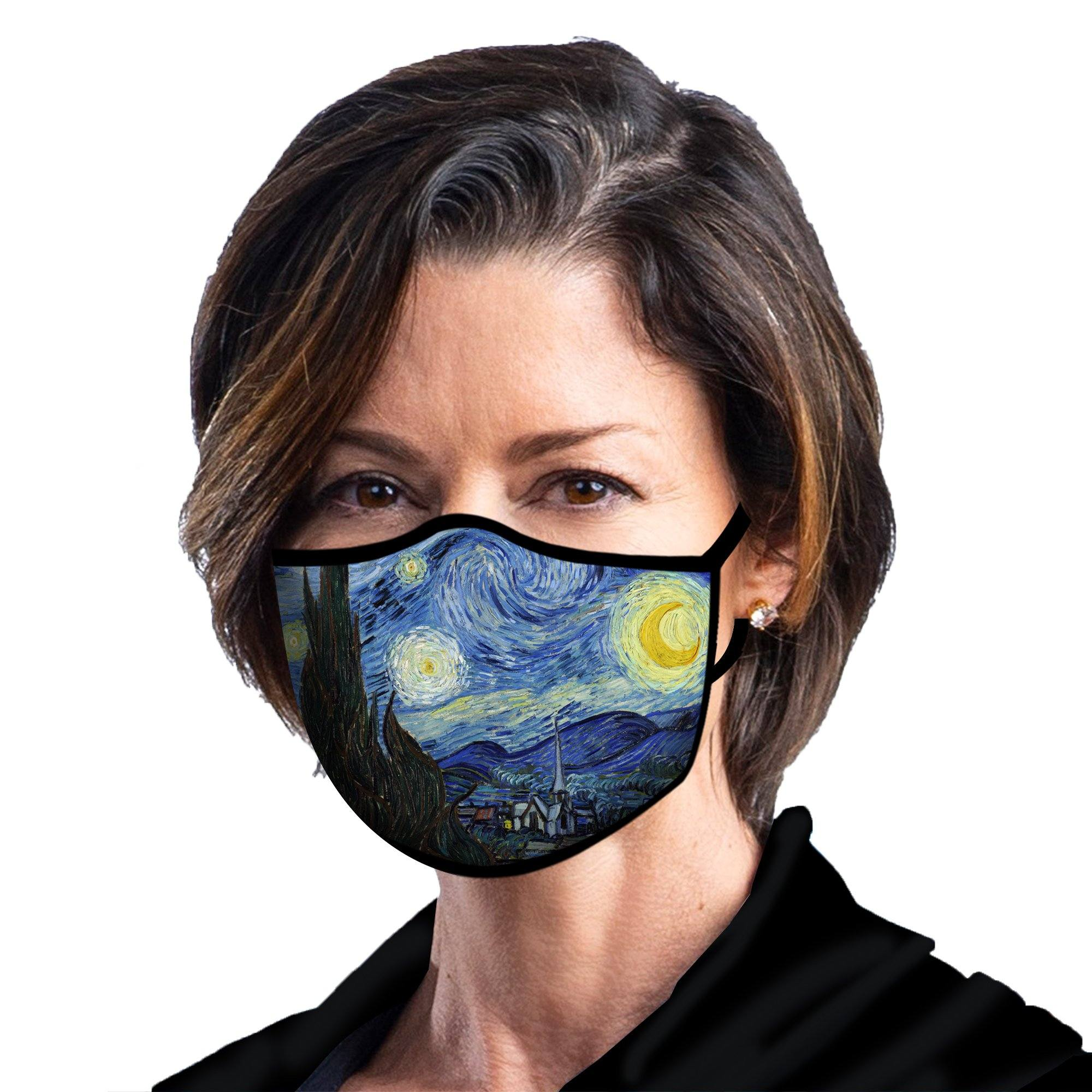 Woman wearing a RainCaper van Gogh Starry Night reusable non-medical cloth face mask.