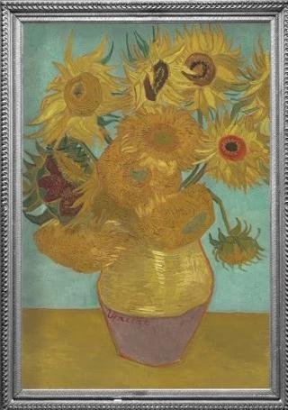 Framed image of van Gogh Sunflowers oil painting which inspired the van Gogh Sunflowers RainCaper.