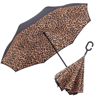 Image of a RainCaper Black & Leopard inverted umbrella shown both open and closed. When open, the top is Black and the interior features the Leopard print