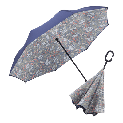 RainCaper Navy/William Morris Lily Reverse Umbrella