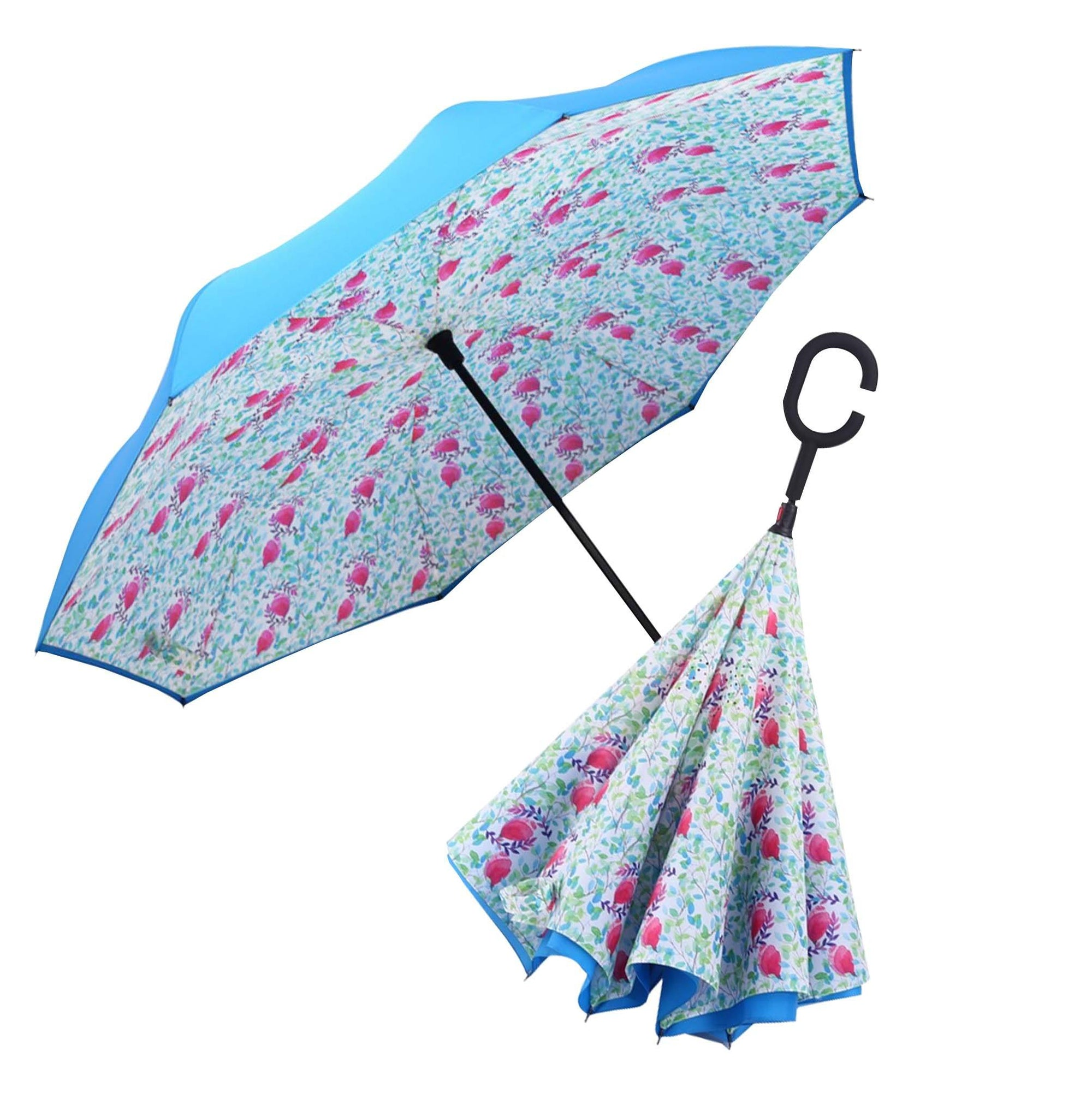 Image of a RainCaper Aqua Spring Watercolor inverted umbrella shown both open and closed. When open, the top is Aqua and the interior features the Spring Watercolor print