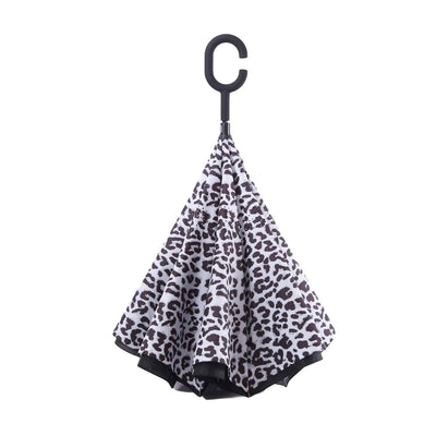 RainCaper Black & White Animal Print Reverse Umbrella