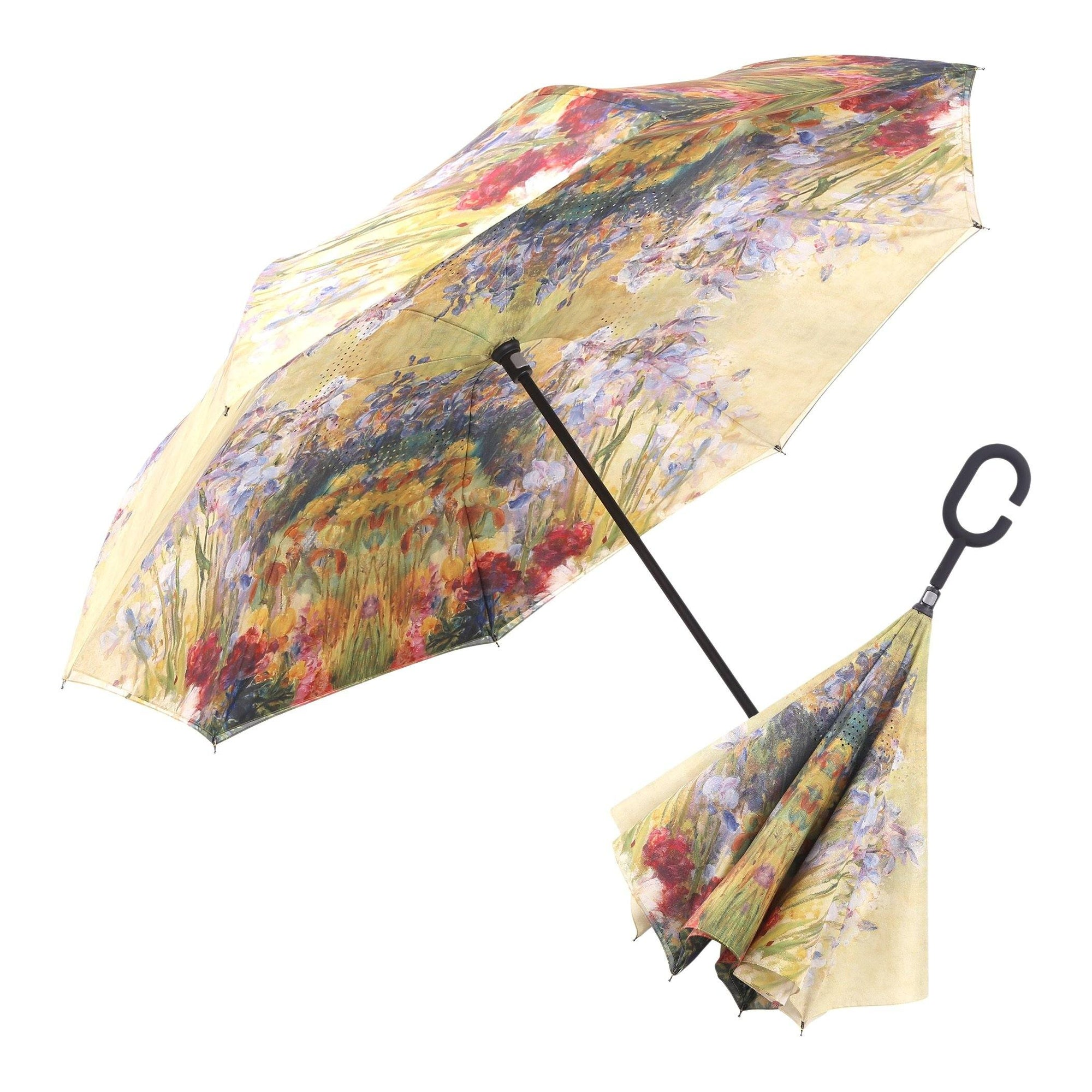 Image of a RainCaper Tiffany Peonies & Iris inverted umbrella shown both open and closed