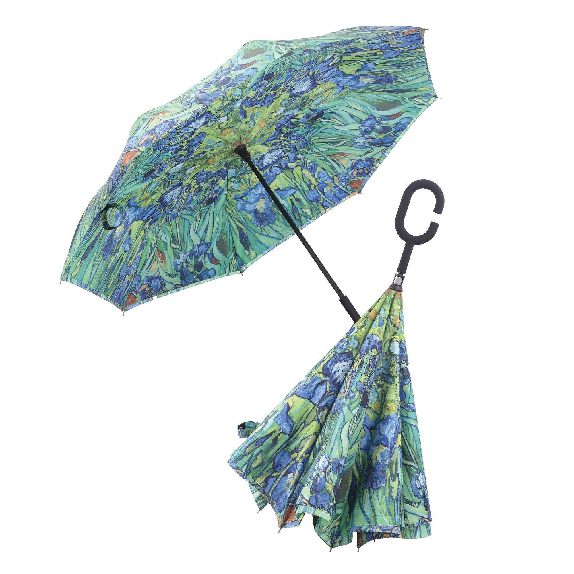 Image of a RainCaper Van Gogh Irises inverted umbrella shown both open and closed