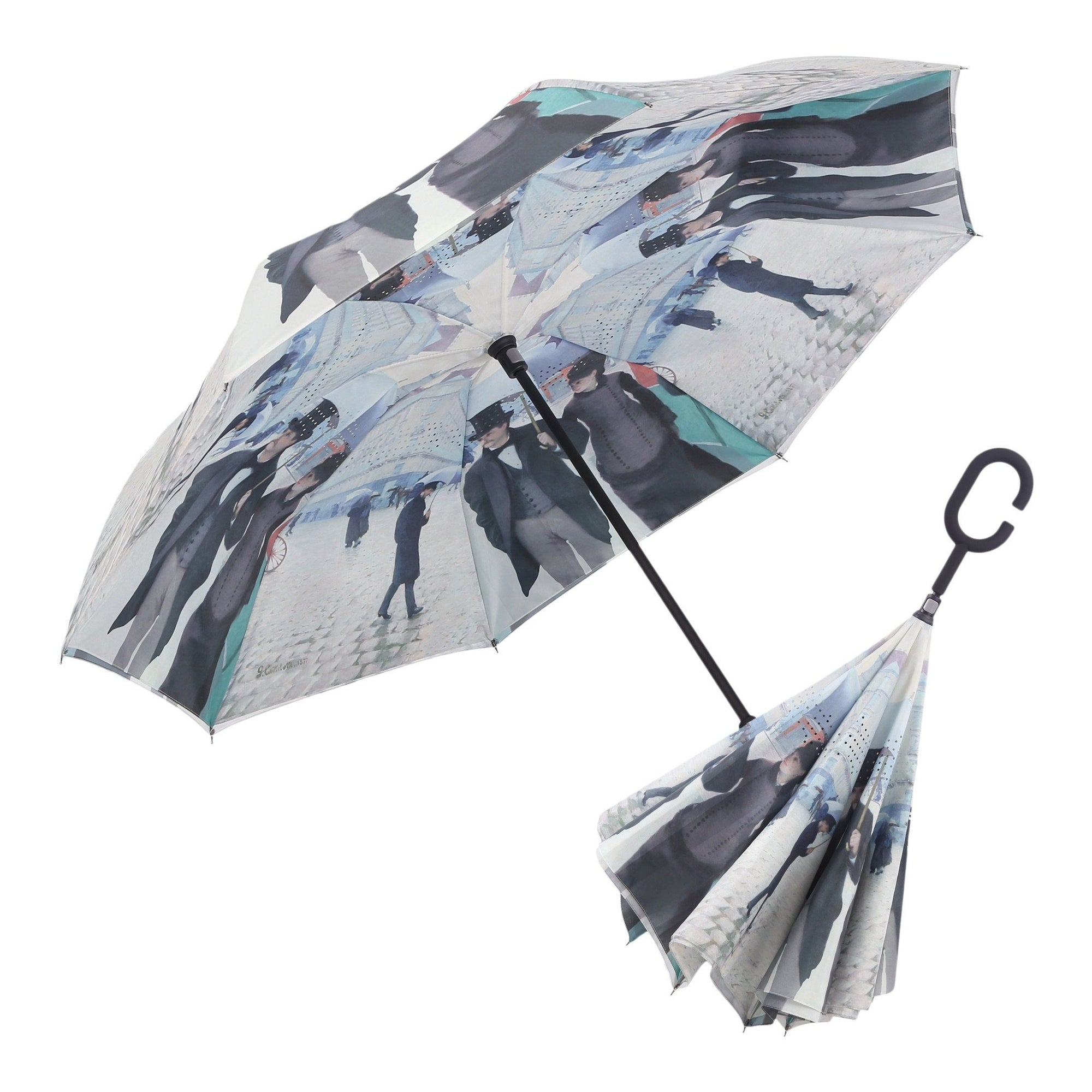 Image of a RainCaper Caillebotte Paris Street inverted umbrella shown both open and closed