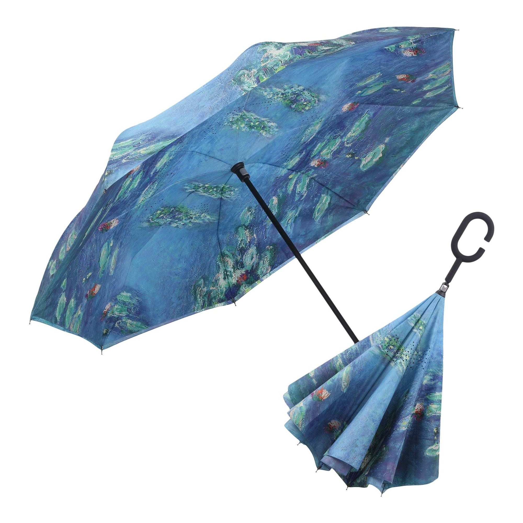 Image of a RainCaper Monet Water Lilies inverted umbrella shown both open and closed