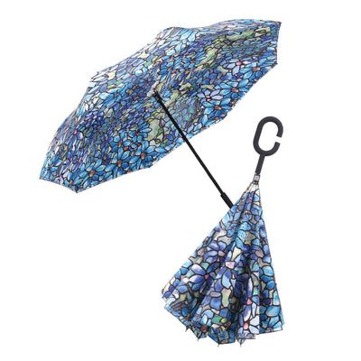 Image of a RainCaper Tiffany Clematis inverted umbrella shown both open and closed