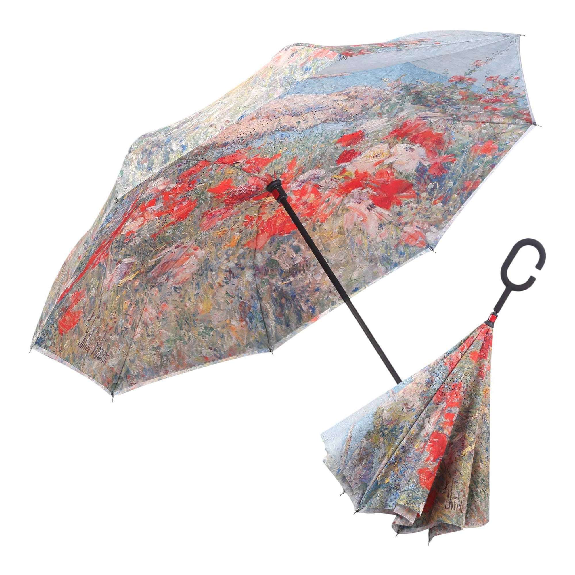 Image of a RainCaper Hassam Celia's Garden/Isles of Shoals inverted umbrella shown both open and closed. When open, the top is Hassam Celia's Garden and the interior features the Isles of Shoals print