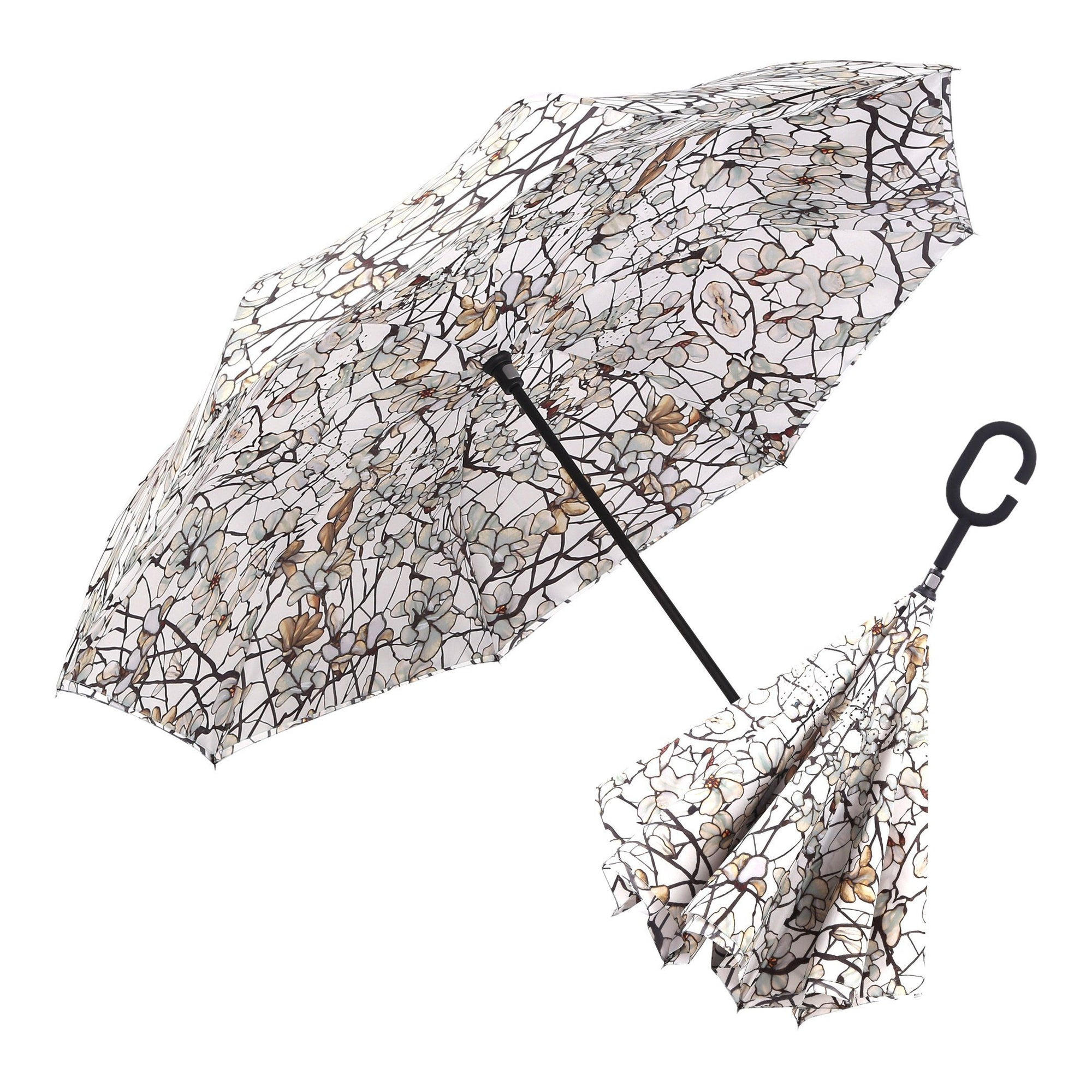 Image of a RainCaper Tiffany Magnolia inverted umbrella shown both open and closed