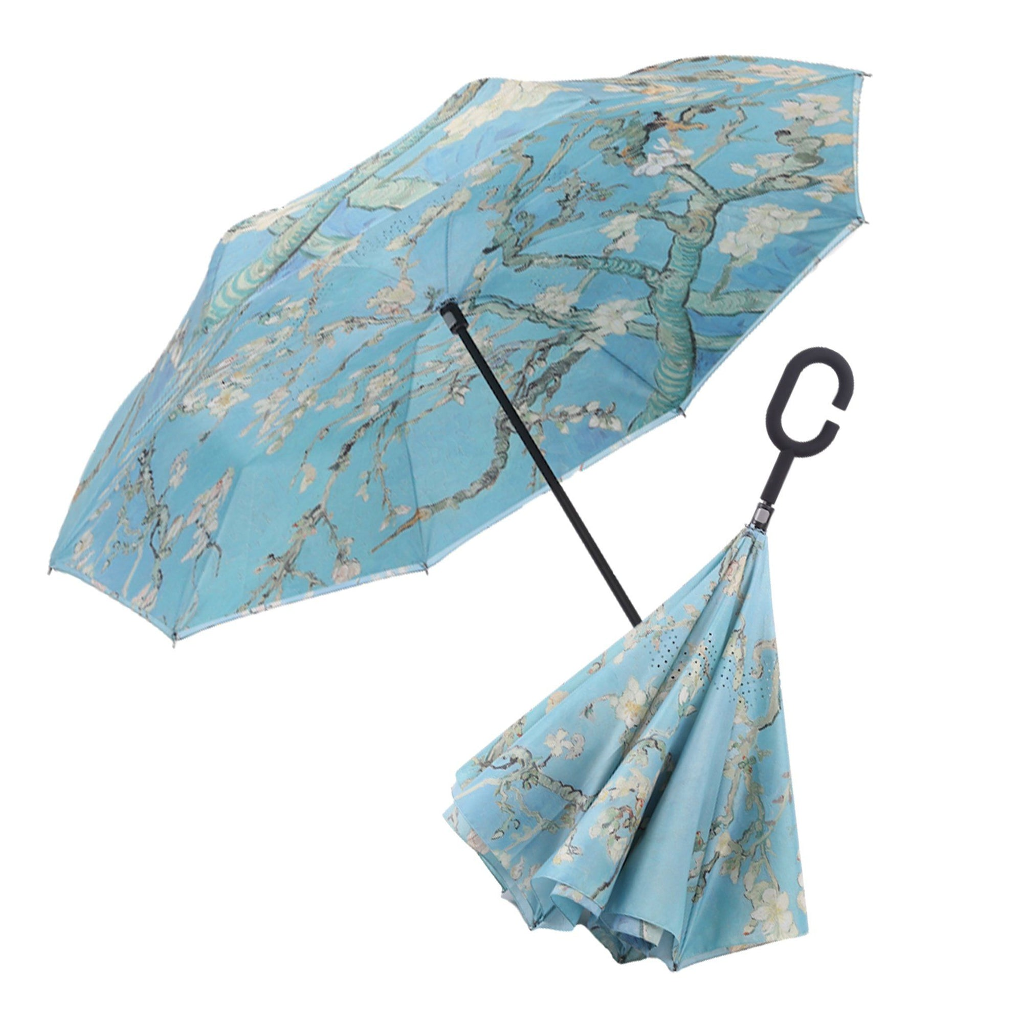 A video of a RainCaper Van Gogh Almond Blossom reverse (inside-out) umbrella opening and closing