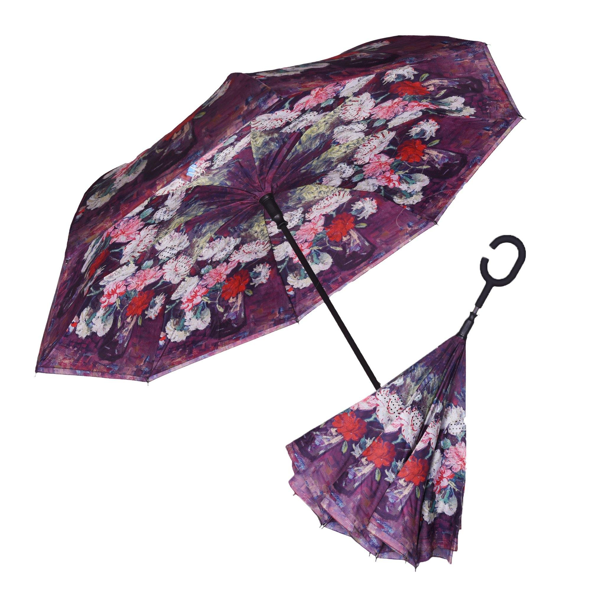 Image of a RainCaper van Gogh Carnations inverted umbrella shown both open and closed
