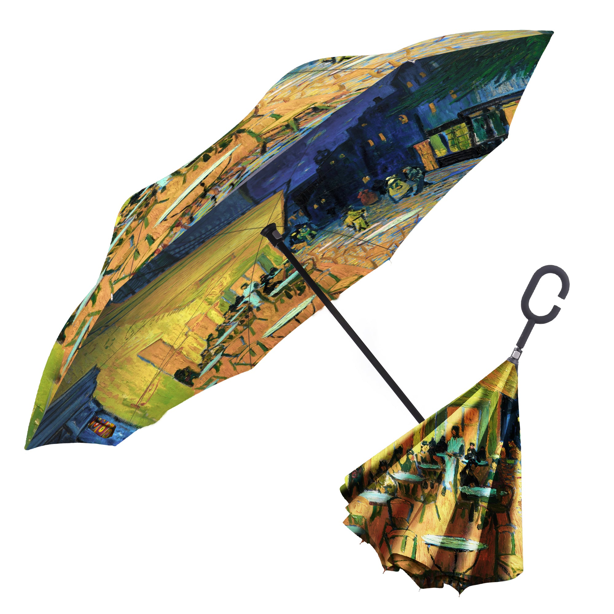 Image of a RainCaper van Gogh's Café Terrace at Night inverted umbrella shown both open and closed