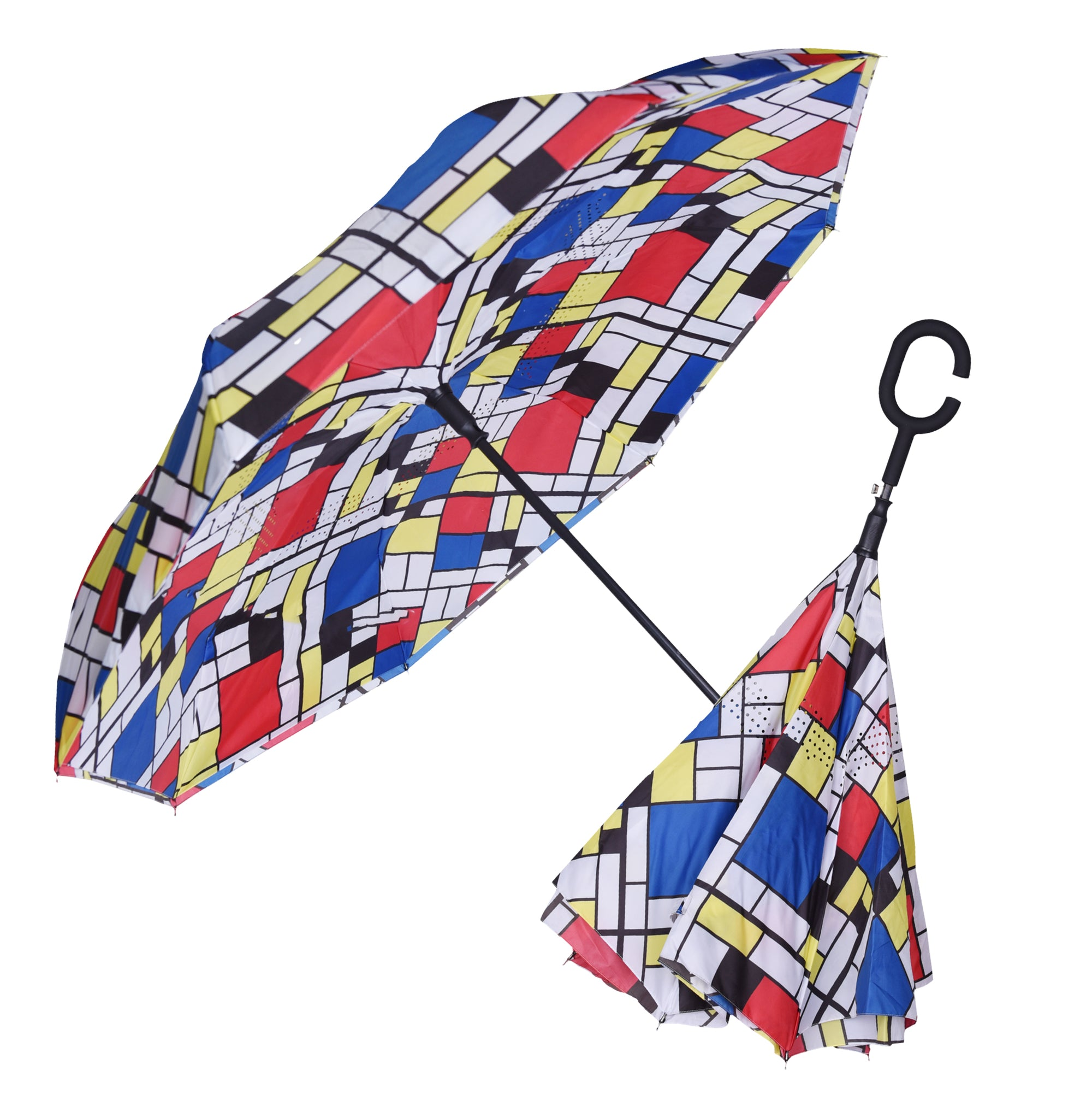 A video of a RainCaper  Mondrian's Composition II reverse (inside-out) umbrella opening and closing