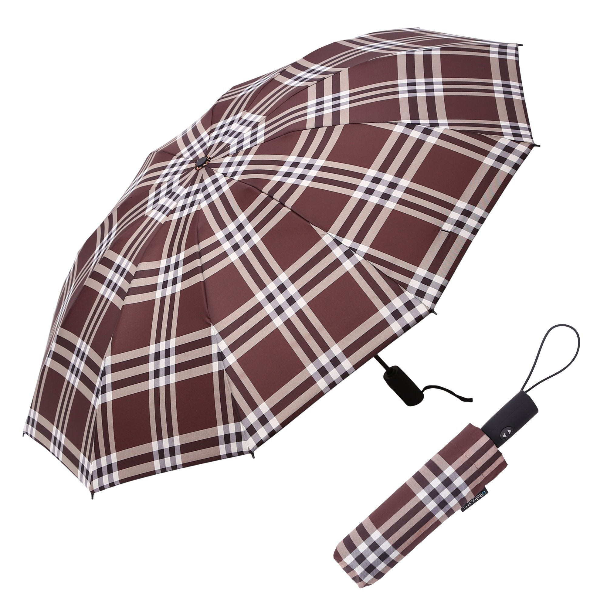 Image of a RainCaper Coco Plaid folded traveling umbrella shown both open and closed