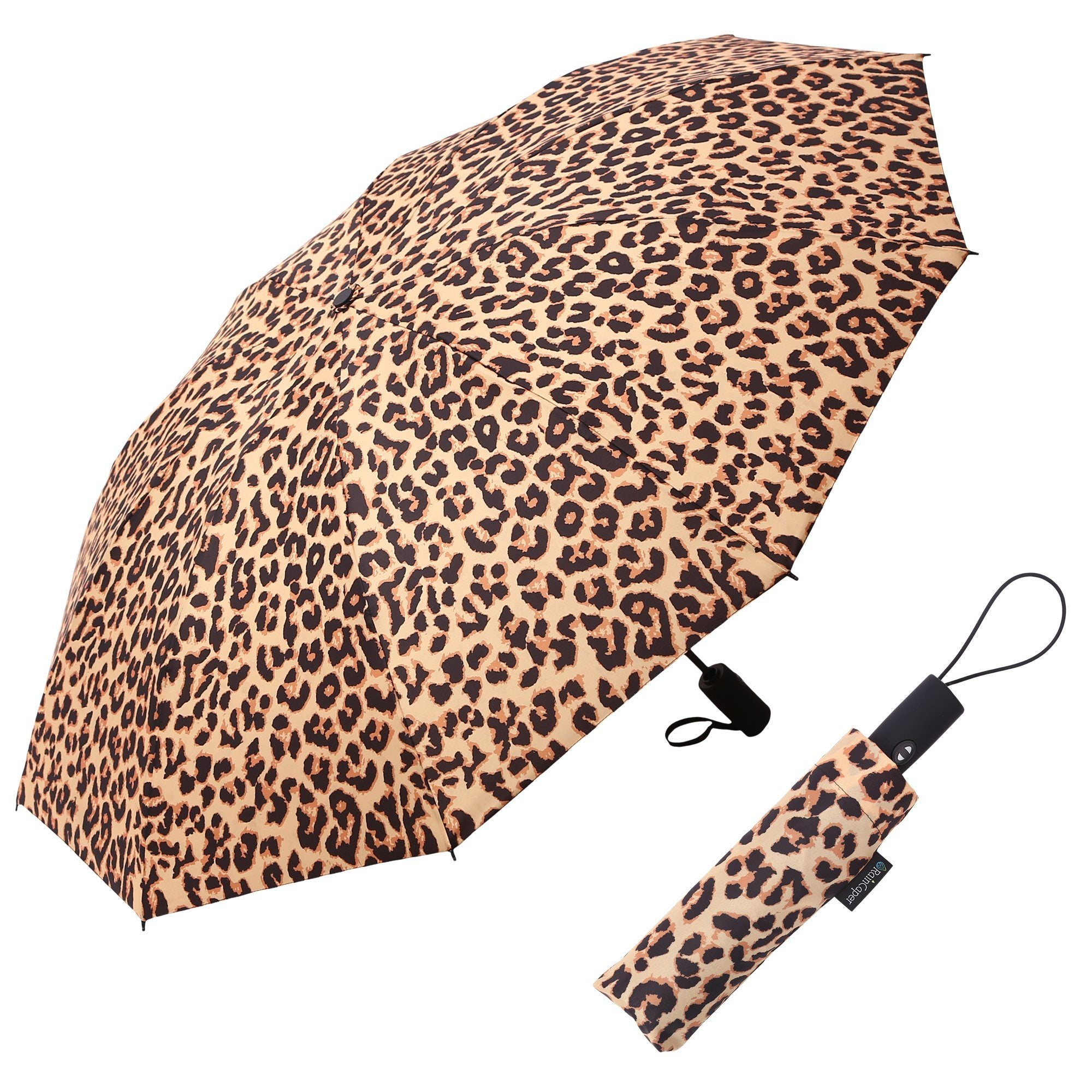 Image of a RainCaper Leopard folded traveling umbrella shown both open and closed